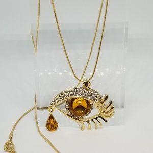 Honey color Evil Eye w/ Teardrop Charm Necklace